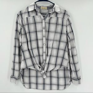Love Notes White and Blue Plaid Shirt